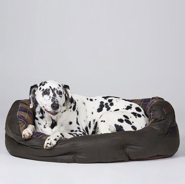 Barbour - 35in Wax/Cotton Dog Bed in Classic Tartan/Olive