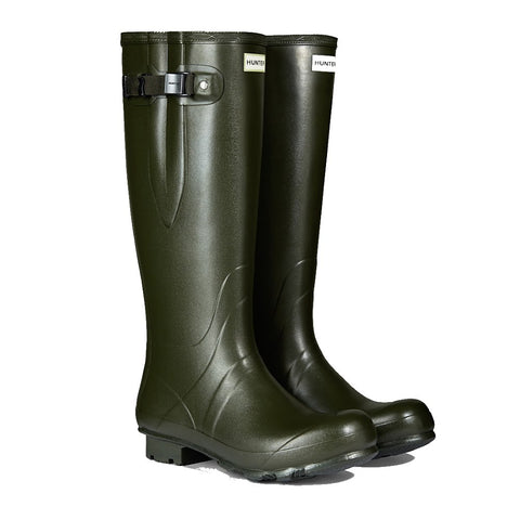 Hunter Men's Norris Field Side Adjustable Wellington Boots in Dark Olive