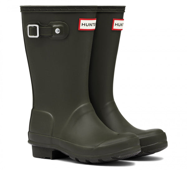 Hunter Original Kids Wellington Boots in Dark Olive