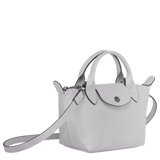 Longchamp - Le Pliage Leather Top Handle Bag in Grey