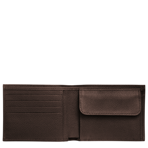 Longchamp - Le Foulonné Card Holder with Coin Slot in Mocha