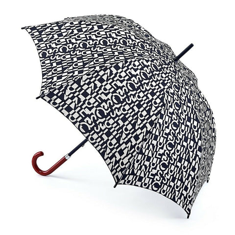 Lulu Guinness by Fulton Kensington-2 Cut Up Logo Umbrella