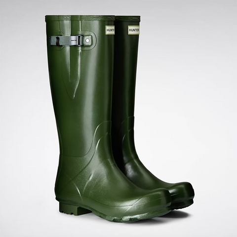 Hunter Men's Norris Field Side Adjustable Wellington Boots in Vintage Green
