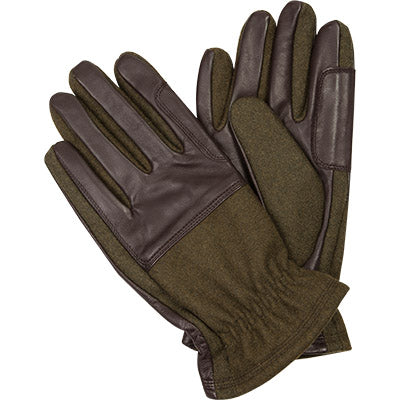 Barbour - Men's Rugged Melton Wool and Leather Gloves in Olive/Brown Mix