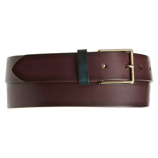 Paul Smith - Men's Burnished Leather Suit Belt in Chocolate