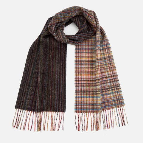 Paul Smith - Men's Mixed Signature Stripe And Check Wool Scarf