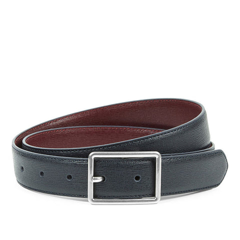 Paul Smith - Cut To Fit Reversible Saffiano Leather Belt in Navy And Burgundy - Belt - Sinclairs Online - 1