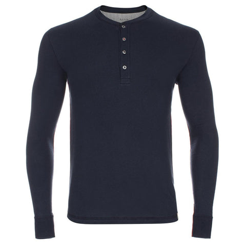 Paul Smith - Long Sleeved Henley Jersey Top in Navy - T-Shirts - Sinclairs Online - 1