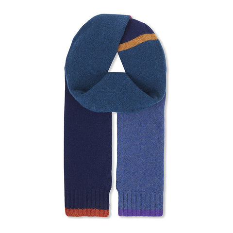PS by Paul Smith - Colour Block Wool Scarf in Navy - Scarf - Sinclairs Online - 1
