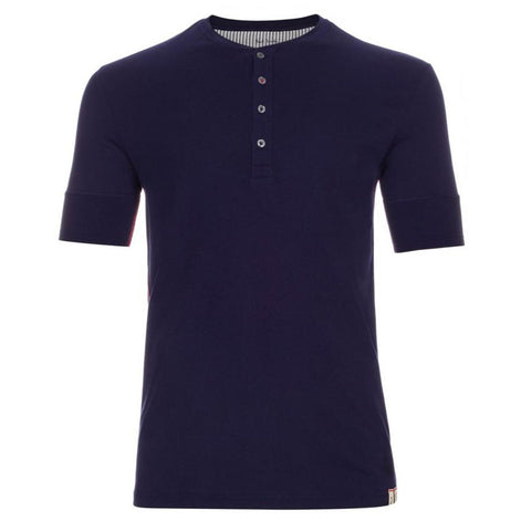 Paul Smith - Short Sleeved Henley Jersey Top in Navy - T-Shirts - Sinclairs Online - 1