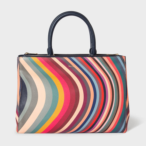 Paul Smith - Women's C-Swirl Print Leather Zip Tote Bag