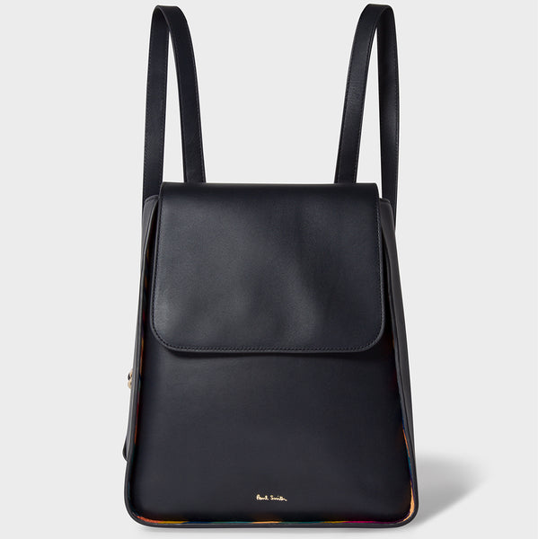 Paul Smith - Women's Leather Flap Backpack in Navy with Swirl Trims
