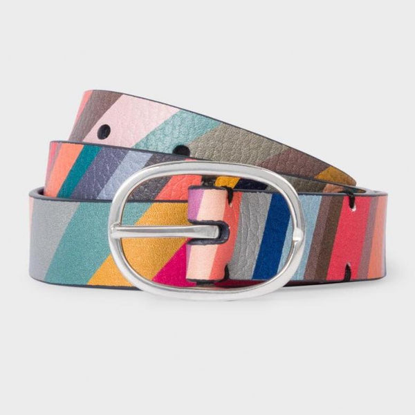 Paul Smith - Women's Swirl Print Leather Reversible Belt