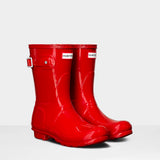 Hunter Women's Original Short Wellington Boots in Military Red Gloss
