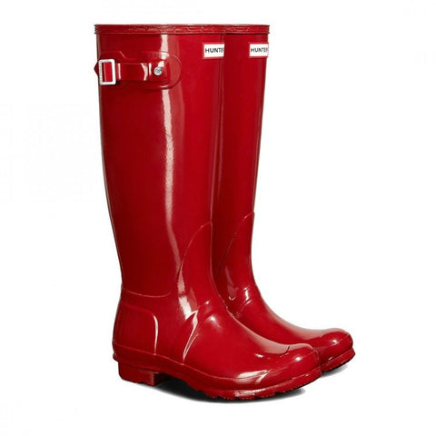 Hunter Women's Original Tall Gloss Wellington Boots in Red