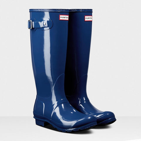 Hunter Women's Original Tall Gloss Wellington Boots in Peak Blue