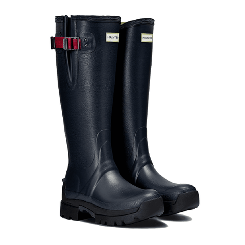 Hunter Women's Balmoral Side Adjustable 3mm Neoprene Rain Boots in Navy/Peppercorn