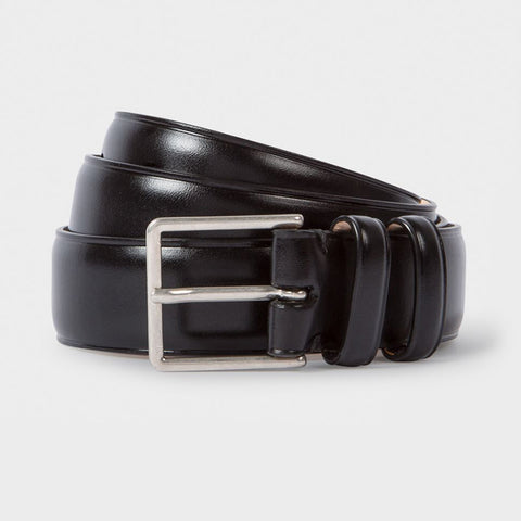 9ee08db8f00 Paul Smith - Men's Black Leather Double Keeper Classic Suit Belt in Black
