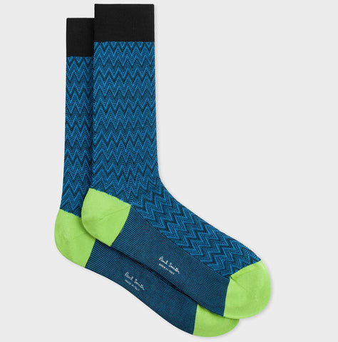 Paul Smith - Men's Chevron Pattern Socks in Black & Blue