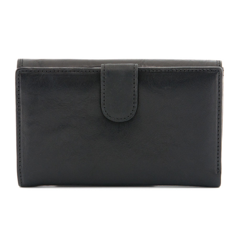 Tony Perotti Italian Leather Black Flap Over Purse With Tab