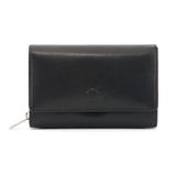 Tony Perotti Italian Leather Black Medium Flap Over Purse