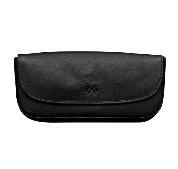 Tony Perotti Italian Leather Black Tudor Leather Glasses Case