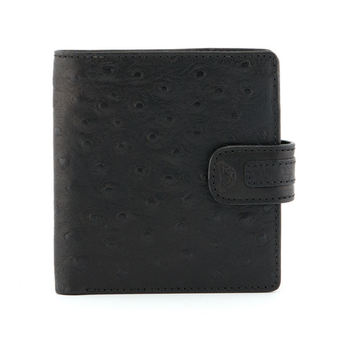 Tony Perotti Italian Leather Black Two Fold Ostrich Wallet