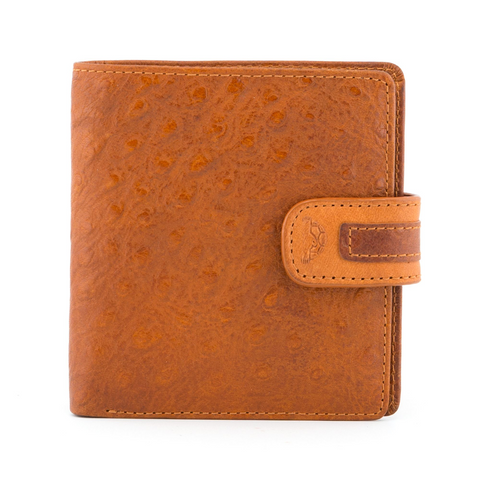 Tony Perotti Italian Leather Honey Two Fold Ostrich Wallet