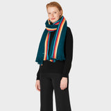 Paul Smith - Women's Artist Stripe Merino Wool Scarf in Dark Green