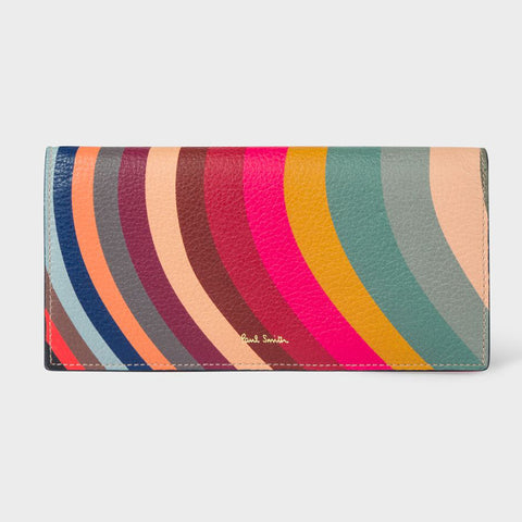 Paul Smith - Women's Swirl Print Leather Tri-Fold Purse with Zip Compartment