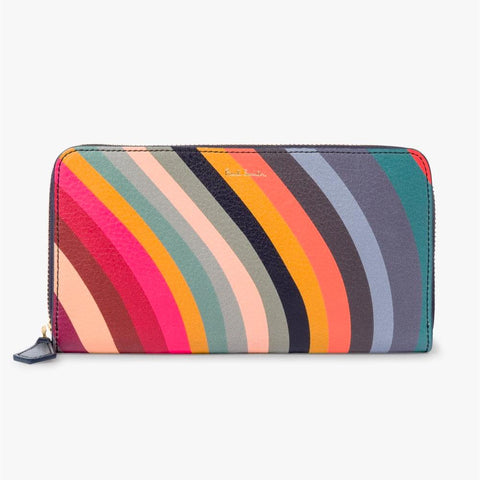 Paul Smith - Swirl Print Leather Zip-Around Large Purse
