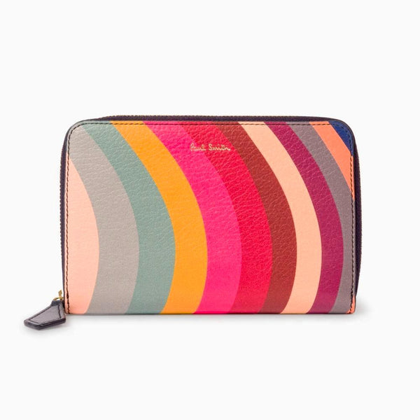 Paul Smith - Swirl Print Leather Zip-Around Medium Purse