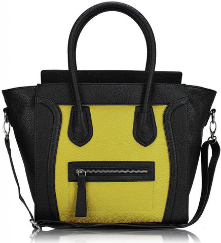 Black/Yellow Tote Handbag With Long Strap