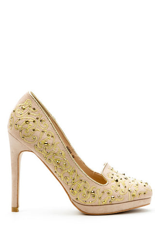 Embroidered & Sequined Heels