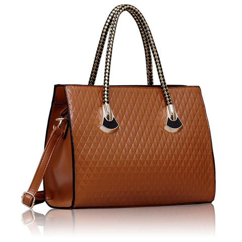 Brown Grab Shoulder Handbag With Black and Gold Handle
