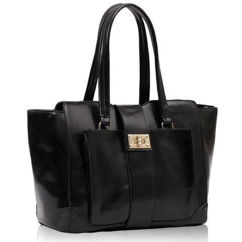 Black Front Pocket Tote Handbag