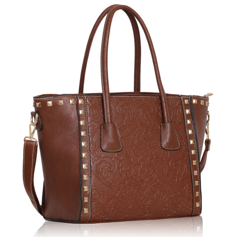 Brown Flower Tote Handbag