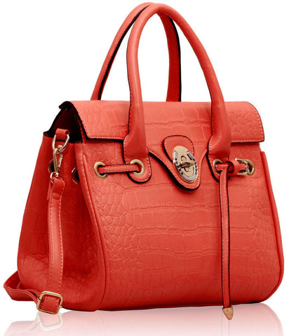 Peach Croc Flap Over Twist Lock Satchel