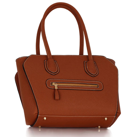 Brown Grab Shoulder Handbag