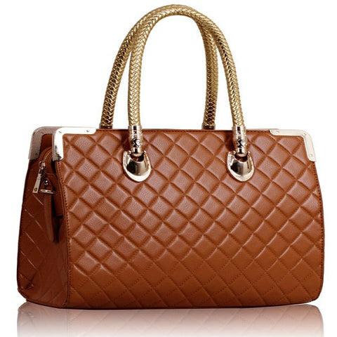 Brown Quilted Doctor Style Bag