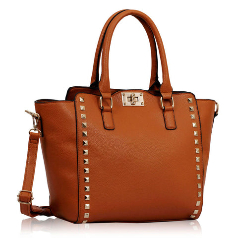 Brown Double- Handle Shoulder Tote Bag