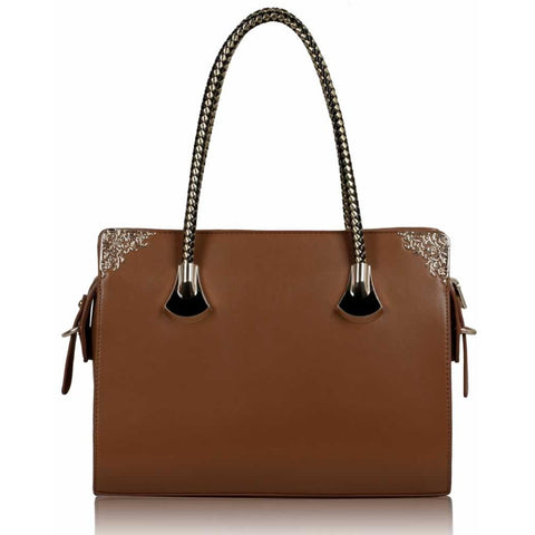 Brown Metal Decoration Shoulder Bag