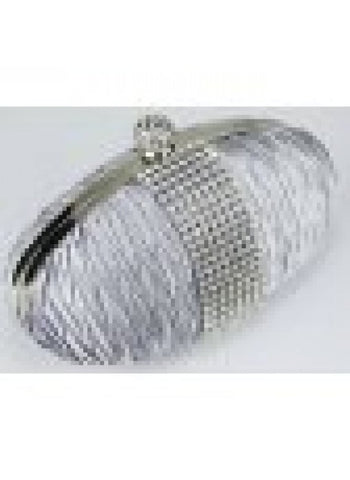 Silver Ruched Satin Clutch With Crystal Trim