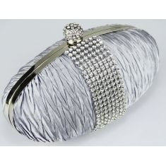 Ruched Satin Clutch With Crystal Trim