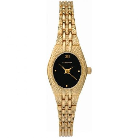 Ladies Gold Plated Oval Black Dial Dress Watch 4510