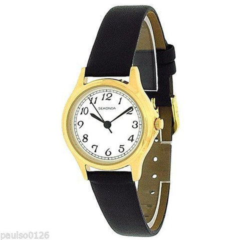 Sekonda 4134 Gold Plated Black Strap Ladies Watch