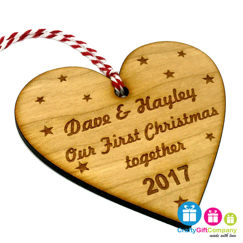 Personalised Our First Christmas Together Heart Xmas Tree Bauble - Cherry Wood