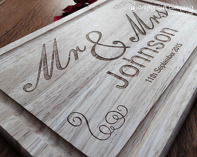 Personalised Mr & Mrs Wooden Chopping Board Wedding 5th Anniversary Gift Present
