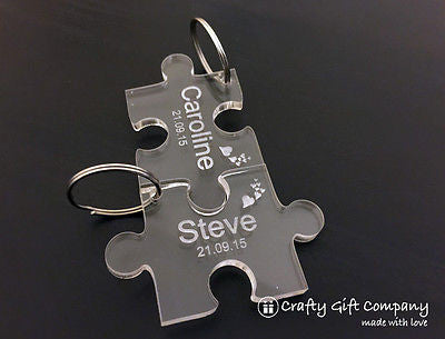 Personalised Jigsaw Puzzle Piece Keyring Set Gift