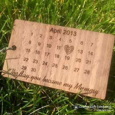 Personalised Wooden Calendar Keyring for Fathers Day Gift Mothers Day 5th Anniversary